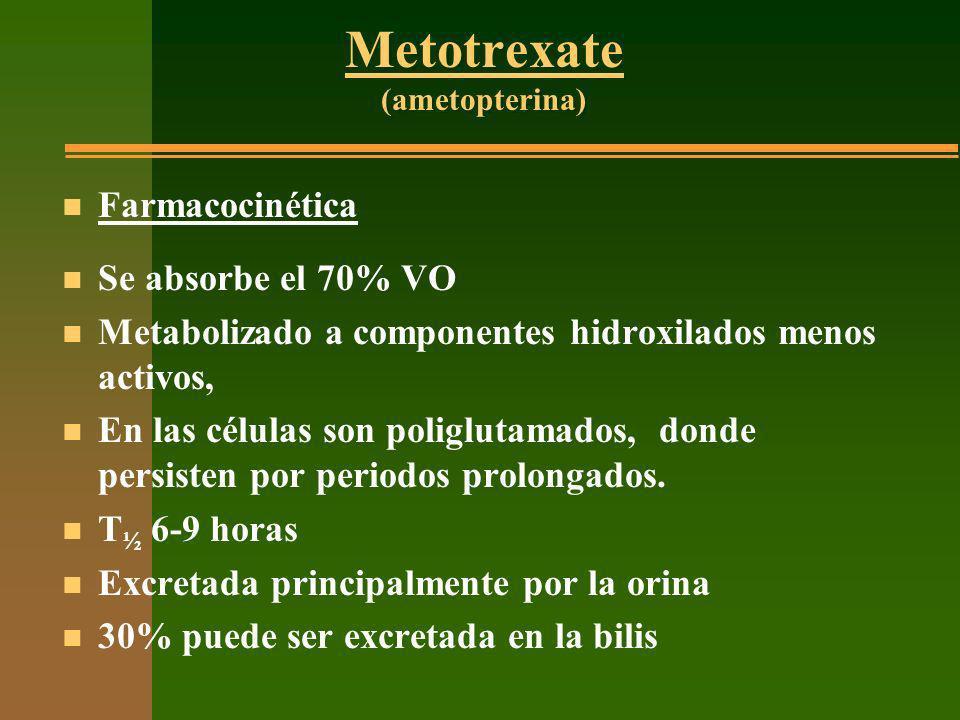 Metotrexate (ametopterina) n Farmacocinética n Se absorbe el 70% VO n Metabolizado a componentes hidroxilados menos activos, n En las células son poli
