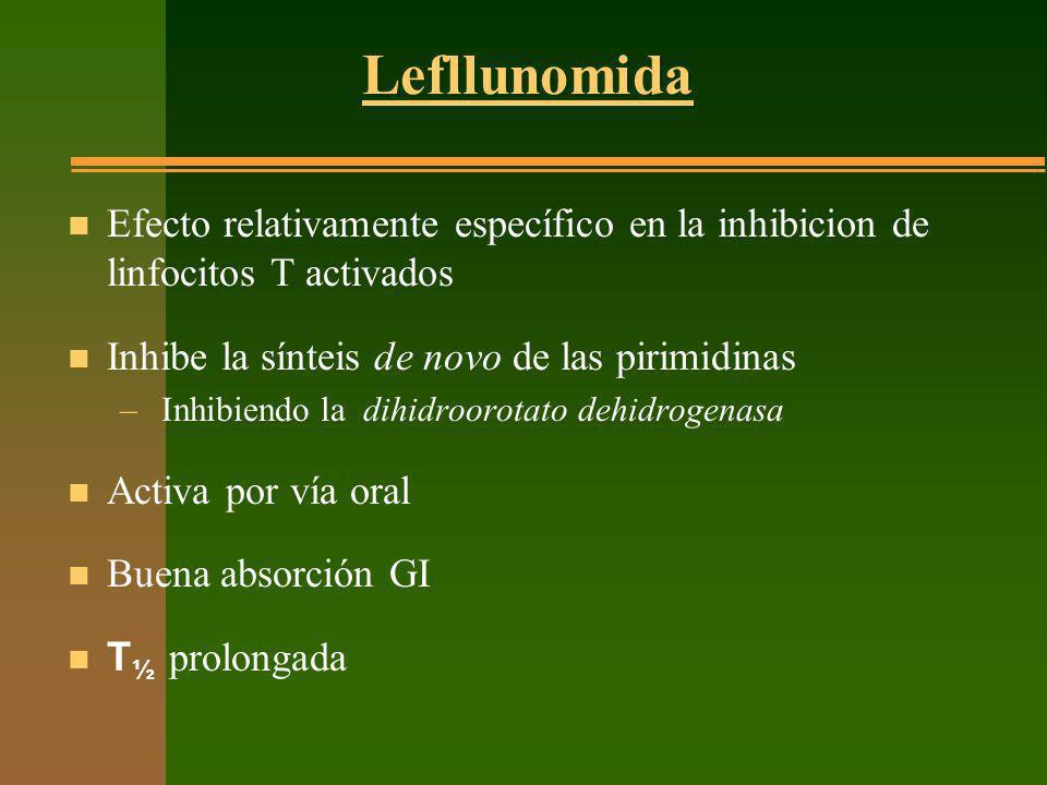 Lefllunomida n Efecto relativamente específico en la inhibicion de linfocitos T activados n Inhibe la sínteis de novo de las pirimidinas – Inhibiendo