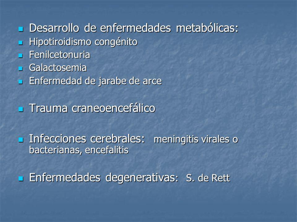 Desarrollo de enfermedades metabólicas: Desarrollo de enfermedades metabólicas: Hipotiroidismo congénito Hipotiroidismo congénito Fenilcetonuria Fenil