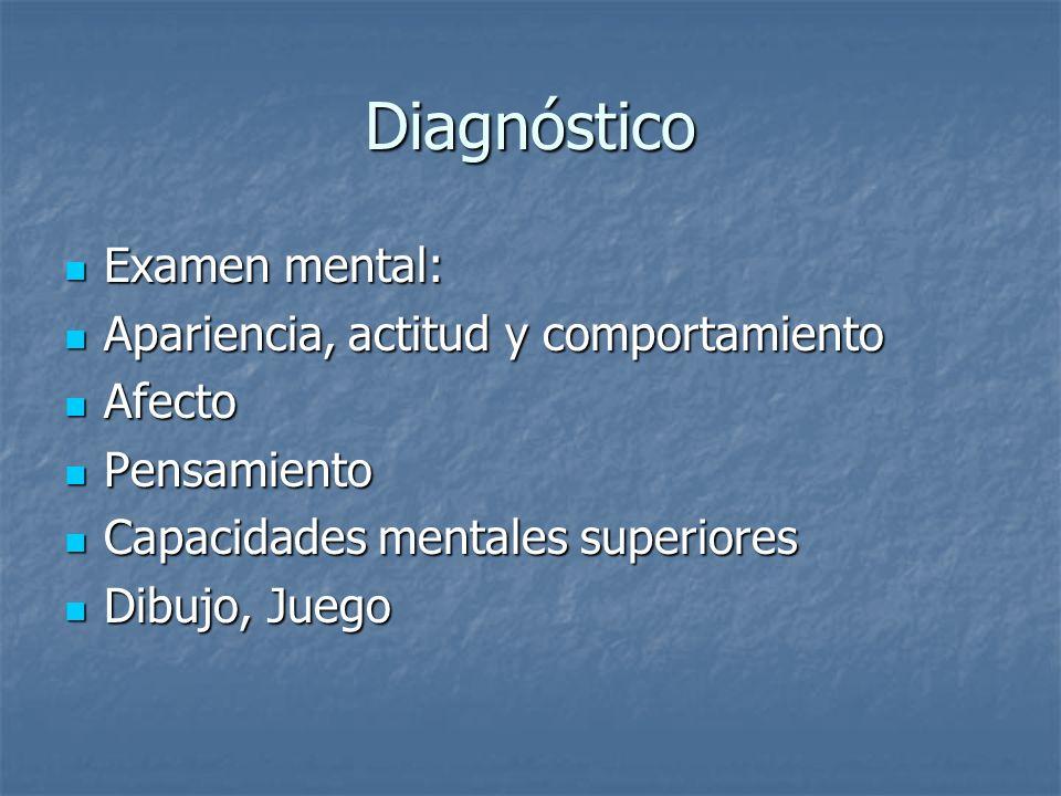 Diagnóstico Examen mental: Examen mental: Apariencia, actitud y comportamiento Apariencia, actitud y comportamiento Afecto Afecto Pensamiento Pensamie