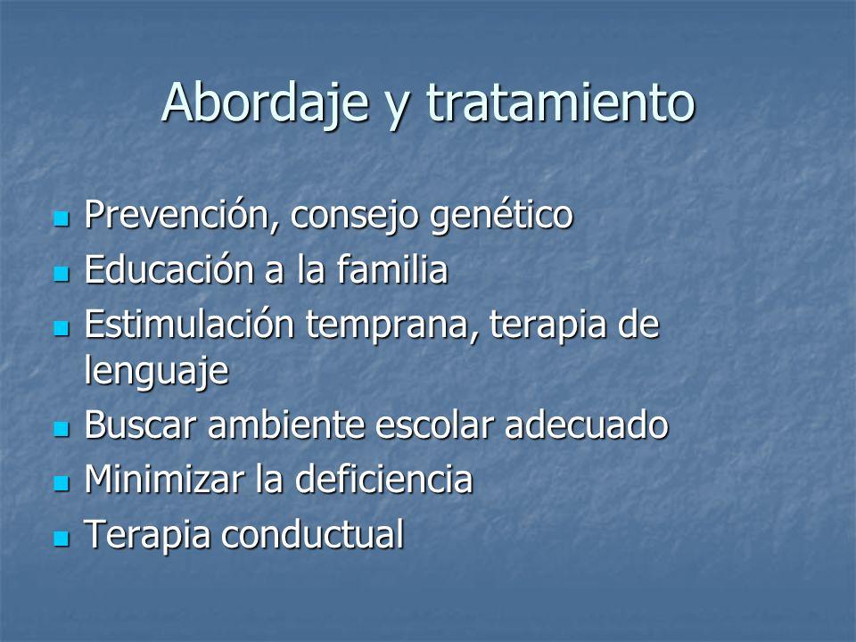 Abordaje y tratamiento Prevención, consejo genético Prevención, consejo genético Educación a la familia Educación a la familia Estimulación temprana,