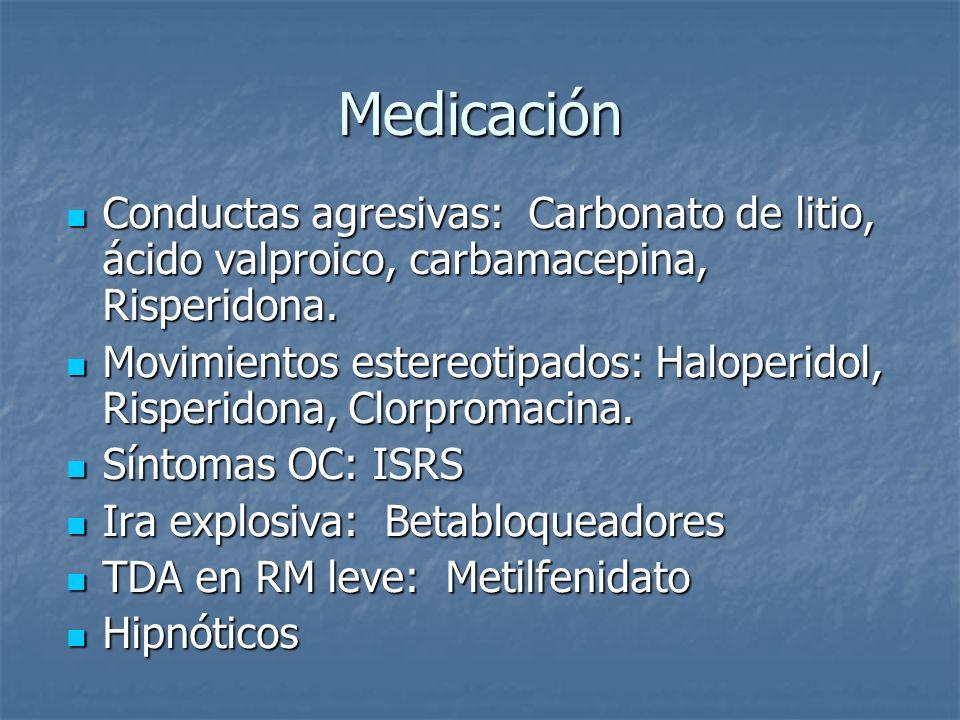 Medicación Conductas agresivas: Carbonato de litio, ácido valproico, carbamacepina, Risperidona. Conductas agresivas: Carbonato de litio, ácido valpro