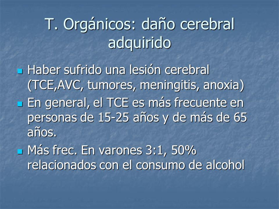 T. Orgánicos: daño cerebral adquirido Haber sufrido una lesión cerebral (TCE,AVC, tumores, meningitis, anoxia) Haber sufrido una lesión cerebral (TCE,