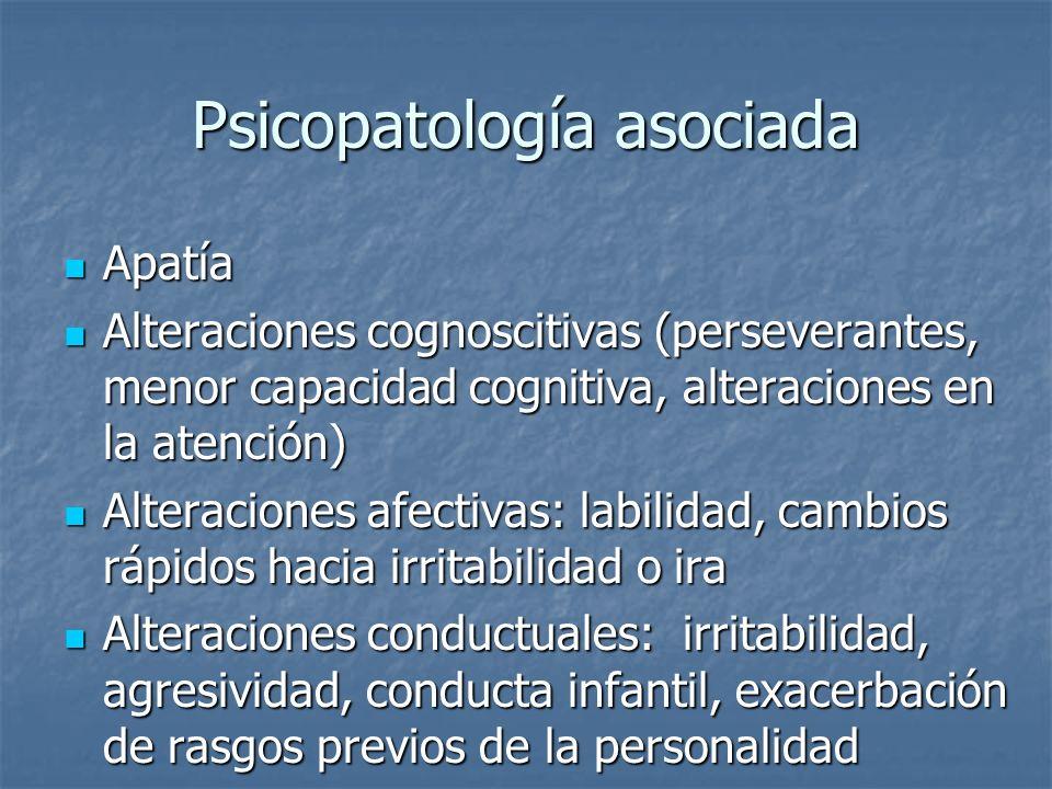 Psicopatología asociada Apatía Apatía Alteraciones cognoscitivas (perseverantes, menor capacidad cognitiva, alteraciones en la atención) Alteraciones