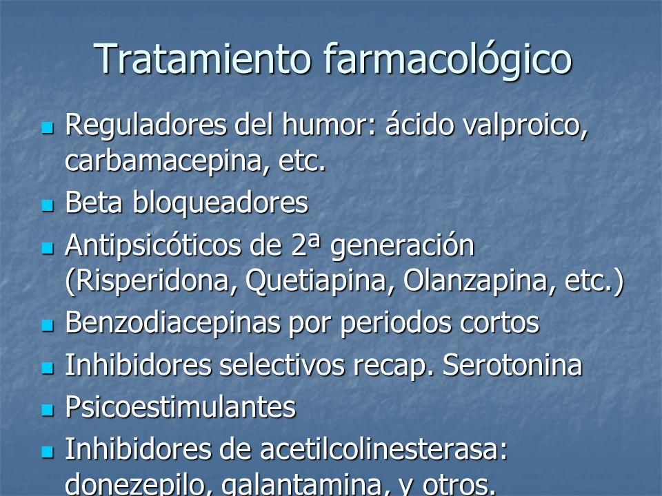 Tratamiento farmacológico Reguladores del humor: ácido valproico, carbamacepina, etc. Reguladores del humor: ácido valproico, carbamacepina, etc. Beta