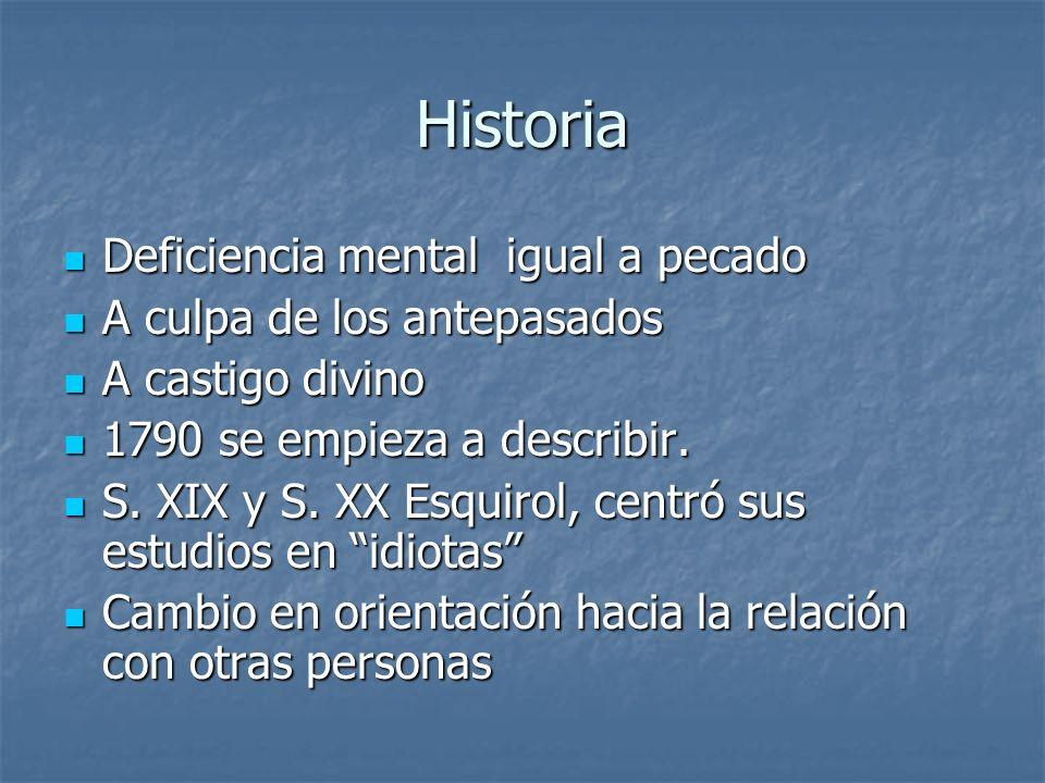 Historia Deficiencia mental igual a pecado Deficiencia mental igual a pecado A culpa de los antepasados A culpa de los antepasados A castigo divino A