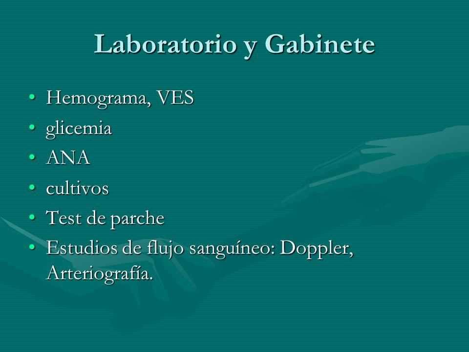Laboratorio y Gabinete Hemograma, VESHemograma, VES glicemiaglicemia ANAANA cultivoscultivos Test de parcheTest de parche Estudios de flujo sanguíneo: