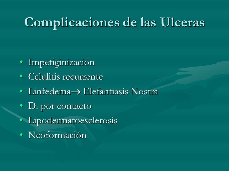 Complicaciones de las Ulceras ImpetiginizaciónImpetiginización Celulitis recurrenteCelulitis recurrente Linfedema Elefantiasis NostraLinfedema Elefant