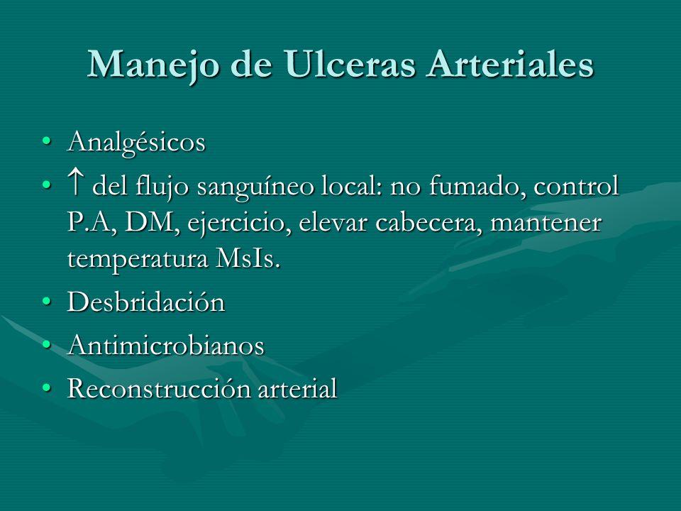 Manejo de Ulceras Arteriales AnalgésicosAnalgésicos del flujo sanguíneo local: no fumado, control P.A, DM, ejercicio, elevar cabecera, mantener temper
