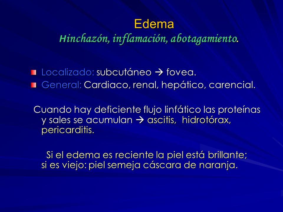 Edema Acumulación de líquido intersticial Edema se hace evidente cuando hay al menos 10% de líquido en el estroma del tejido conjuntivo. Se manifiesta