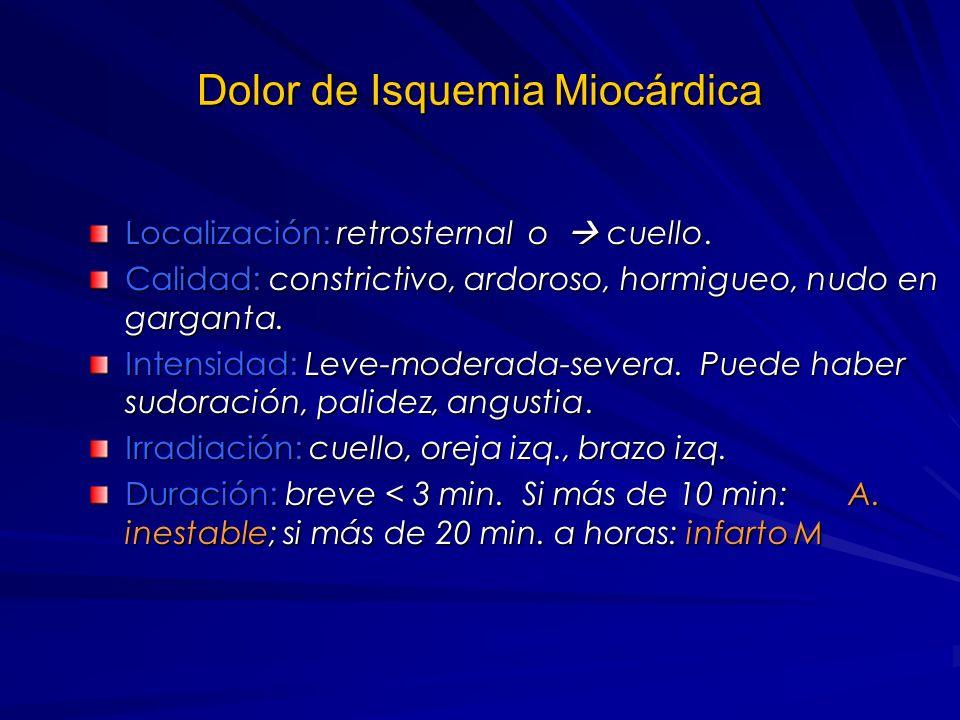Dolor Toráxico En dolor cardiovascular es importante evaluar: características, localización, irradiación, duración, frecuencia, recurrencias, empeoram