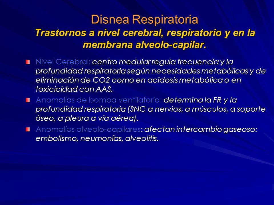 Fisiología-patología de la Disnea Causas mecánicas: obstrucción de vías aéreas o patología restrictiva, agudas o crónicas, estimulan músculos respirat