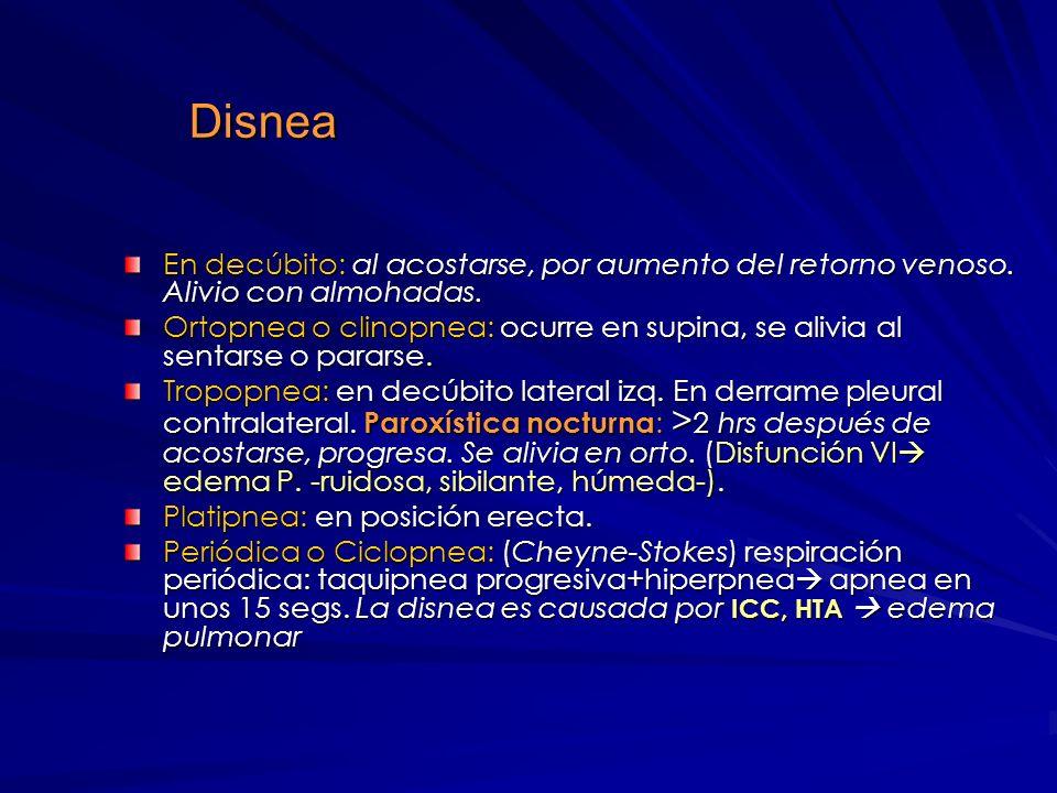 Disnea Cardiovascular Con gasto alto: poco O 2 o > RVP (anemia, tirotoxicosis, shunts). Con gasto normal: falla en incrementar Vol/Min e incapacidad p