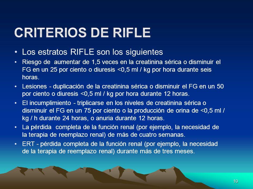 10 Los estratos RIFLE son los siguientes Riesgo de aumentar de 1,5 veces en la creatinina sérica o disminuir el FG en un 25 por ciento o diuresis <0,5