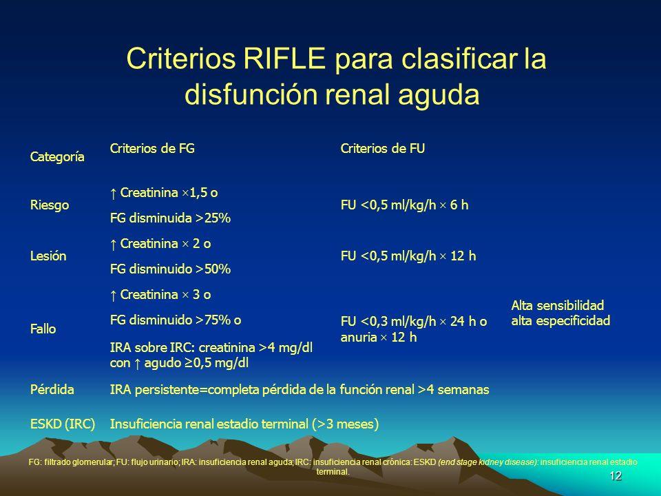 12 Criterios RIFLE para clasificar la disfunción renal aguda Categoría Criterios de FGCriterios de FU Riesgo Creatinina ×1,5 o FU <0,5 ml/kg/h × 6 h A