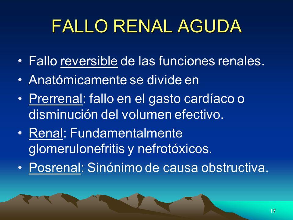 17 FALLO RENAL AGUDA Fallo reversible de las funciones renales. Anatómicamente se divide en Prerrenal: fallo en el gasto cardíaco o disminución del vo