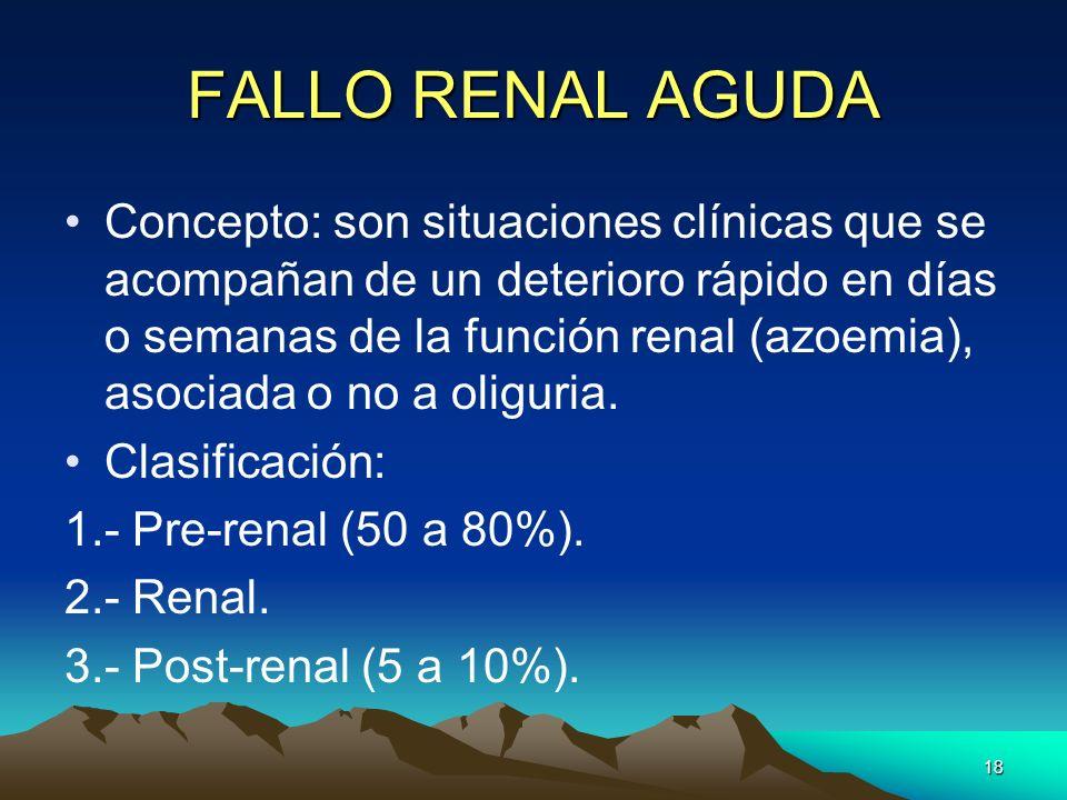 18 FALLO RENAL AGUDA Concepto: son situaciones clínicas que se acompañan de un deterioro rápido en días o semanas de la función renal (azoemia), asoci