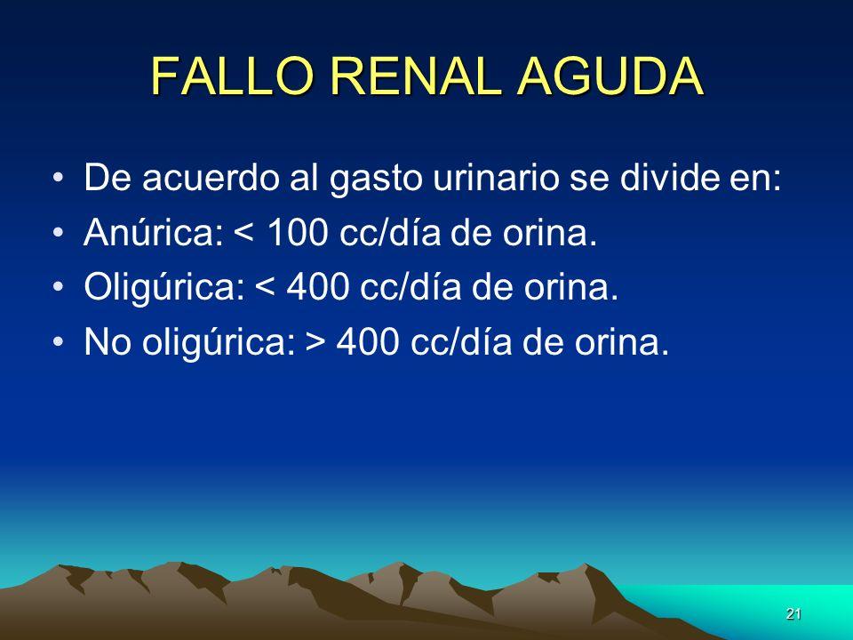 21 FALLO RENAL AGUDA De acuerdo al gasto urinario se divide en: Anúrica: < 100 cc/día de orina. Oligúrica: < 400 cc/día de orina. No oligúrica: > 400