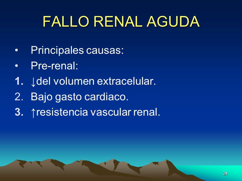 24 FALLO RENAL AGUDA Principales causas: Pre-renal: 1.del volumen extracelular. 2.Bajo gasto cardiaco. 3.resistencia vascular renal.