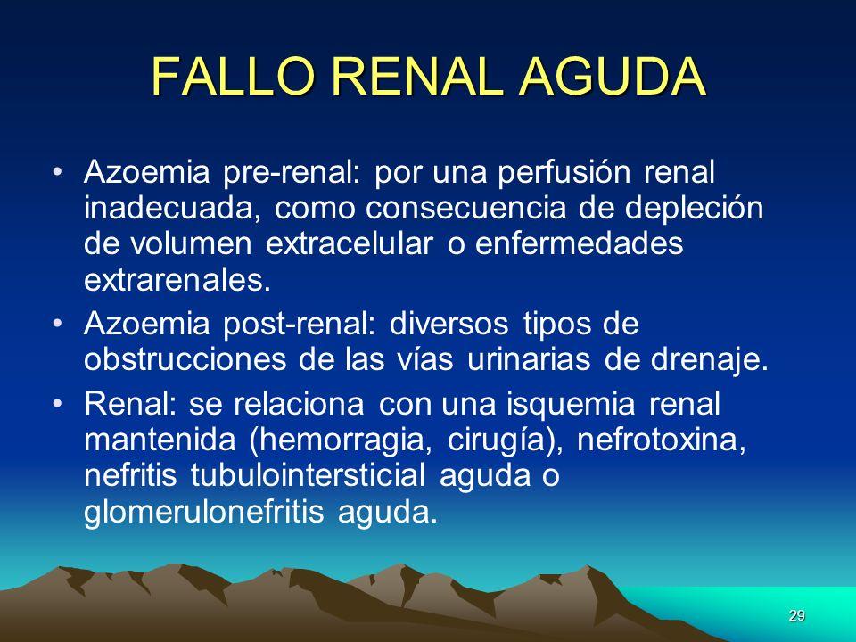 29 FALLO RENAL AGUDA Azoemia pre-renal: por una perfusión renal inadecuada, como consecuencia de depleción de volumen extracelular o enfermedades extr
