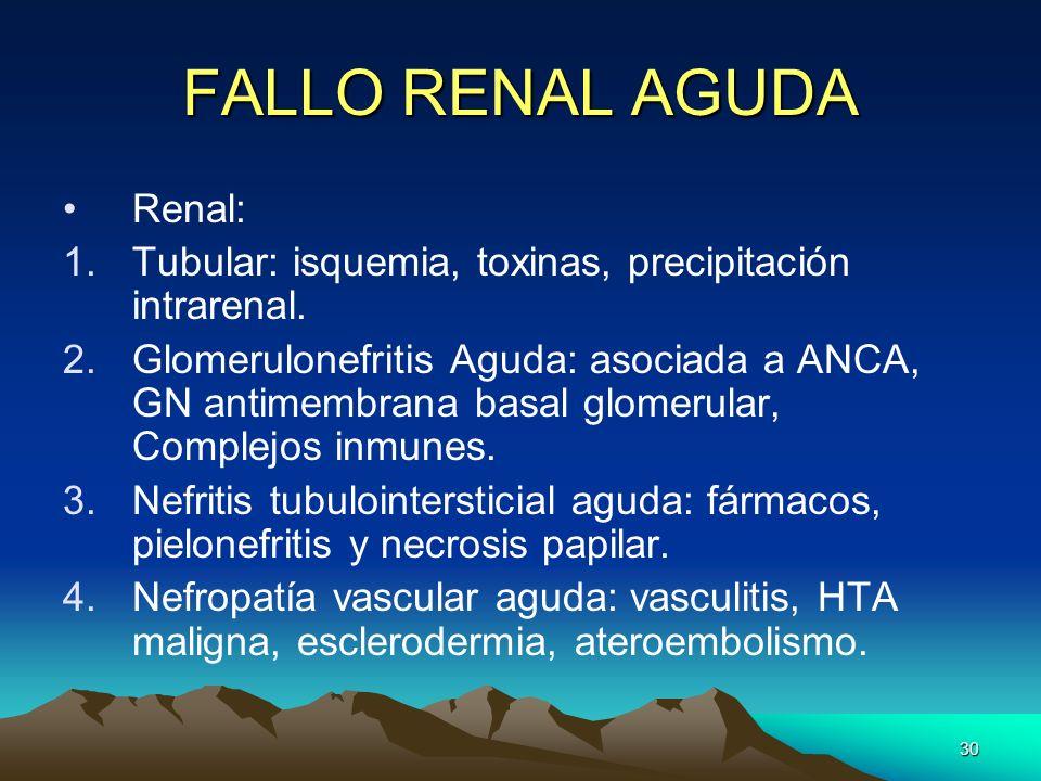 30 FALLO RENAL AGUDA Renal: 1.Tubular: isquemia, toxinas, precipitación intrarenal. 2.Glomerulonefritis Aguda: asociada a ANCA, GN antimembrana basal