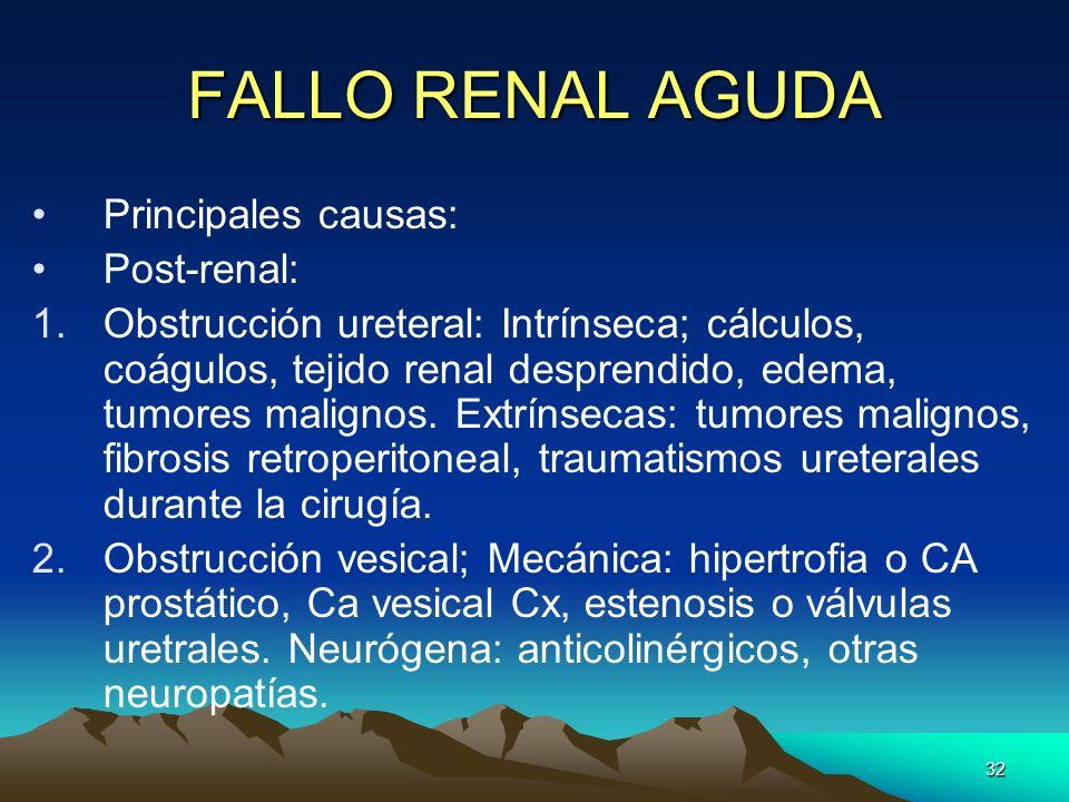 32 FALLO RENAL AGUDA Principales causas: Post-renal: 1.Obstrucción ureteral: Intrínseca; cálculos, coágulos, tejido renal desprendido, edema, tumores