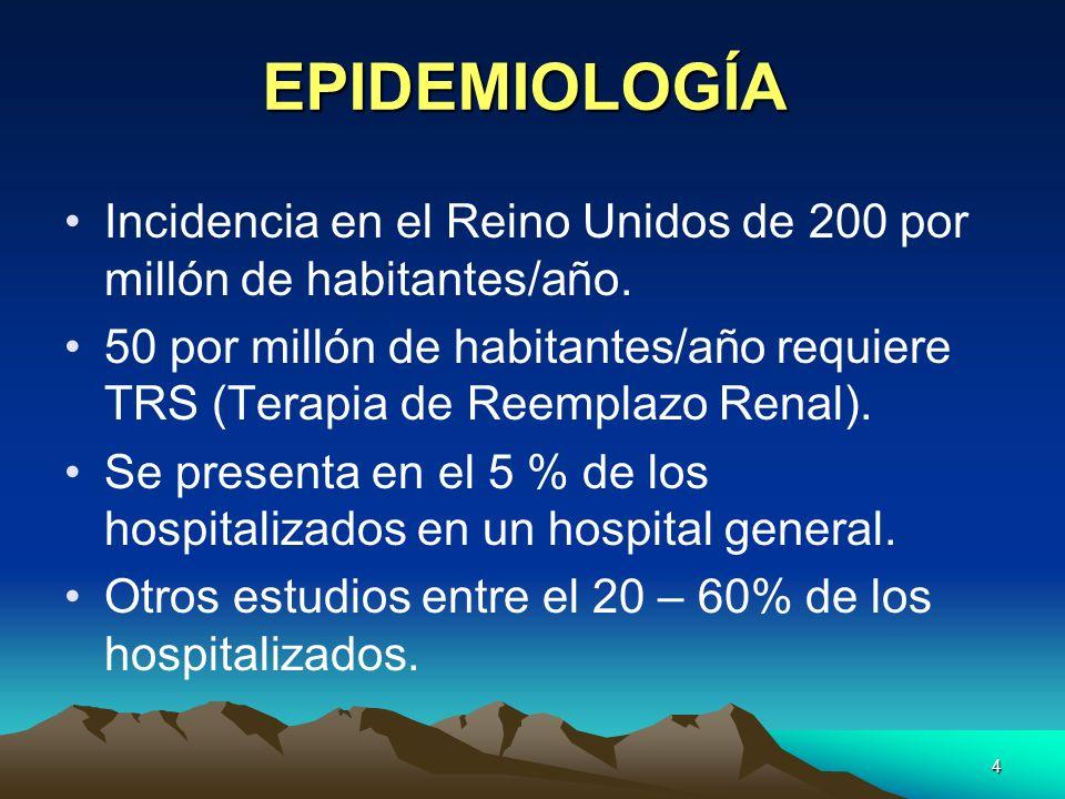 4 EPIDEMIOLOGÍA Incidencia en el Reino Unidos de 200 por millón de habitantes/año. 50 por millón de habitantes/año requiere TRS (Terapia de Reemplazo