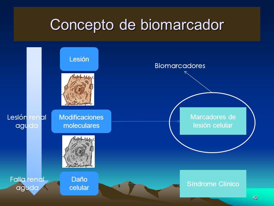 42 Concepto de biomarcador Lesión Modificaciones moleculares Daño celular Marcadores de lesión celular Síndrome Clínico Biomarcadores Lesión renal agu