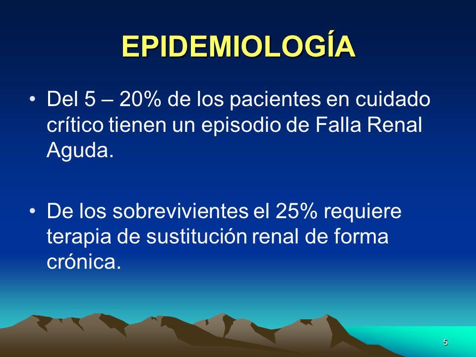 5 EPIDEMIOLOGÍA Del 5 – 20% de los pacientes en cuidado crítico tienen un episodio de Falla Renal Aguda. De los sobrevivientes el 25% requiere terapia