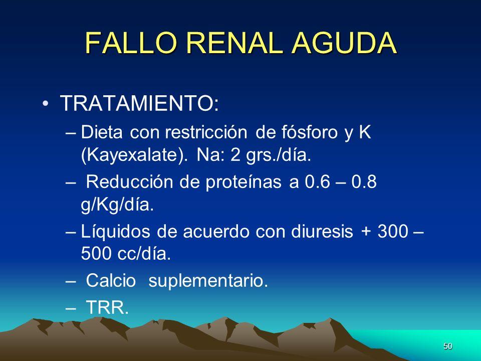 50 FALLO RENAL AGUDA TRATAMIENTO: –Dieta con restricción de fósforo y K (Kayexalate). Na: 2 grs./día. – Reducción de proteínas a 0.6 – 0.8 g/Kg/día. –