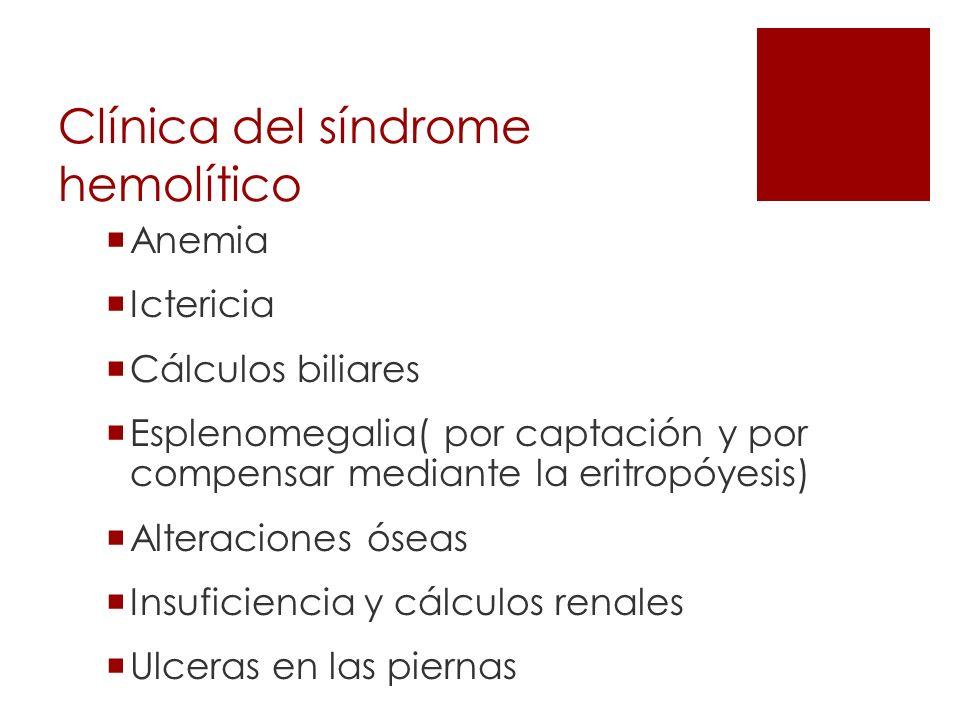Clínica del síndrome hemolítico Anemia Ictericia Cálculos biliares Esplenomegalia( por captación y por compensar mediante la eritropóyesis) Alteracion