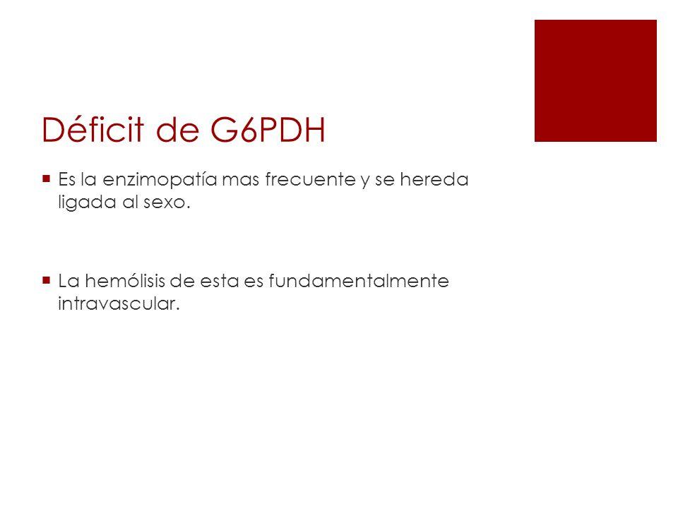 Déficit de G6PDH Es la enzimopatía mas frecuente y se hereda ligada al sexo. La hemólisis de esta es fundamentalmente intravascular.