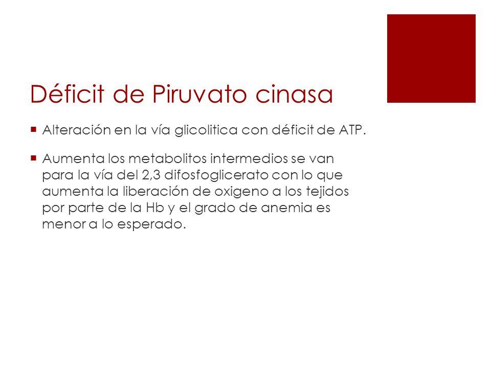 Déficit de Piruvato cinasa Alteración en la vía glicolitica con déficit de ATP. Aumenta los metabolitos intermedios se van para la vía del 2,3 difosfo