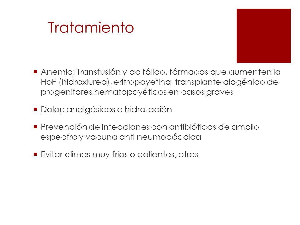 Tratamiento Anemia: Transfusión y ac fólico, fármacos que aumenten la HbF (hidroxiurea), eritropoyetina, transplante alogénico de progenitores hematop