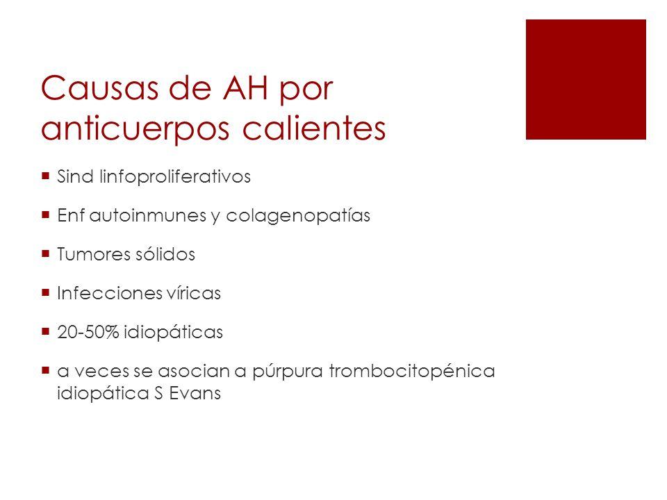 Causas de AH por anticuerpos calientes Sind linfoproliferativos Enf autoinmunes y colagenopatías Tumores sólidos Infecciones víricas 20-50% idiopática