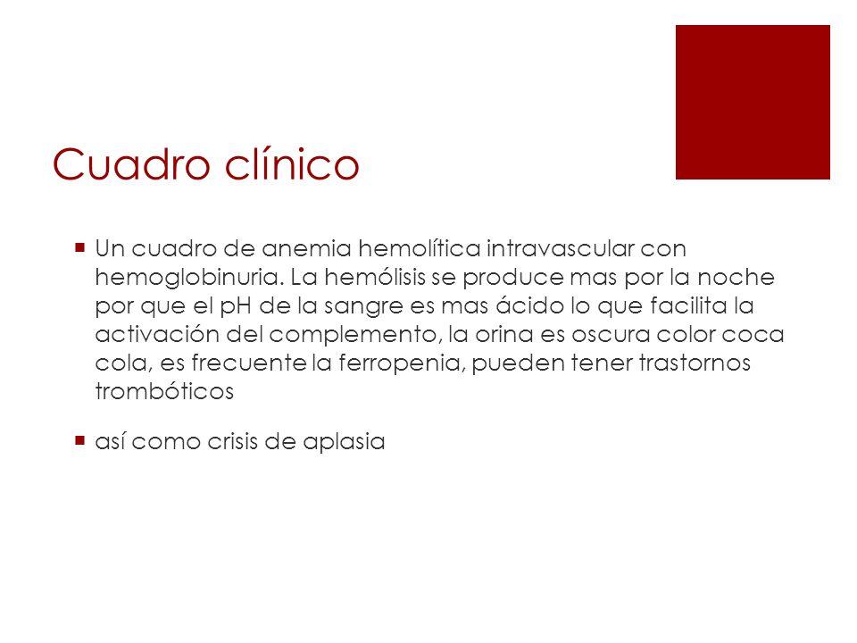 Cuadro clínico Un cuadro de anemia hemolítica intravascular con hemoglobinuria. La hemólisis se produce mas por la noche por que el pH de la sangre es