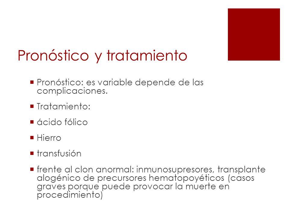 Pronóstico y tratamiento Pronóstico: es variable depende de las complicaciones. Tratamiento: ácido fólico Hierro transfusión frente al clon anormal: i