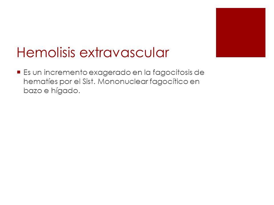 Hemolisis extravascular Es un incremento exagerado en la fagocitosis de hematíes por el Sist. Mononuclear fagocítico en bazo e hígado.