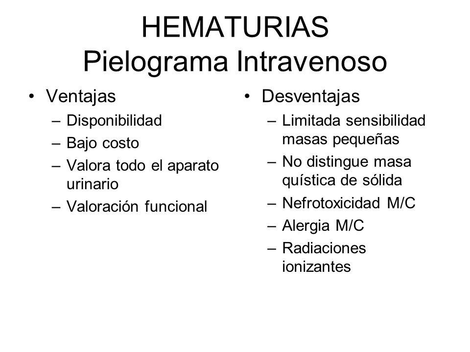 HEMATURIAS Pielograma Intravenoso Ventajas –Disponibilidad –Bajo costo –Valora todo el aparato urinario –Valoración funcional Desventajas –Limitada se