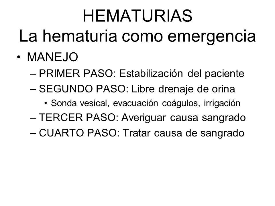HEMATURIAS La hematuria como emergencia MANEJO –PRIMER PASO: Estabilización del paciente –SEGUNDO PASO: Libre drenaje de orina Sonda vesical, evacuaci