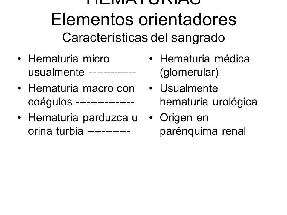 HEMATURIAS Elementos orientadores Características del sangrado Hematuria micro usualmente ------------- Hematuria macro con coágulos ----------------