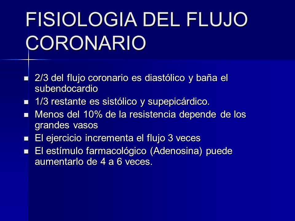 FISIOLOGIA DEL FLUJO CORONARIO 2/3 del flujo coronario es diastólico y baña el subendocardio 2/3 del flujo coronario es diastólico y baña el subendoca