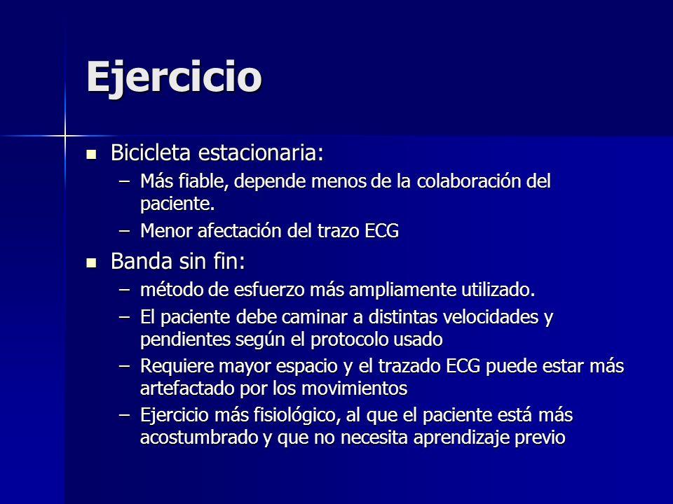 Ejercicio Bicicleta estacionaria: Bicicleta estacionaria: –Más fiable, depende menos de la colaboración del paciente. –Menor afectación del trazo ECG