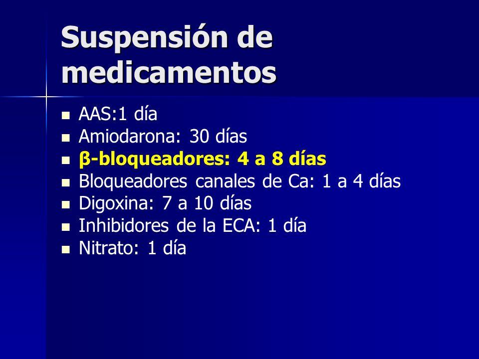 Suspensión de medicamentos AAS:1 día Amiodarona: 30 días β-bloqueadores: 4 a 8 días Bloqueadores canales de Ca: 1 a 4 días Digoxina: 7 a 10 días Inhib