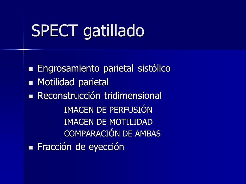 SPECT gatillado SPECT gatillado Engrosamiento parietal sistólico Engrosamiento parietal sistólico Motilidad parietal Motilidad parietal Reconstrucción