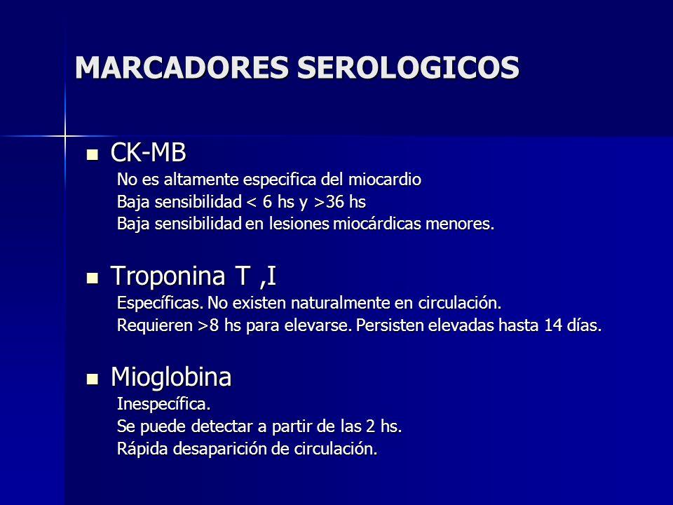 MARCADORES SEROLOGICOS CK-MB CK-MB No es altamente especifica del miocardio No es altamente especifica del miocardio Baja sensibilidad 36 hs Baja sens