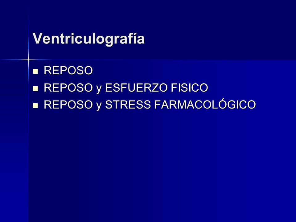 Ventriculografía REPOSO REPOSO REPOSO y ESFUERZO FISICO REPOSO y ESFUERZO FISICO REPOSO y STRESS FARMACOLÓGICO REPOSO y STRESS FARMACOLÓGICO