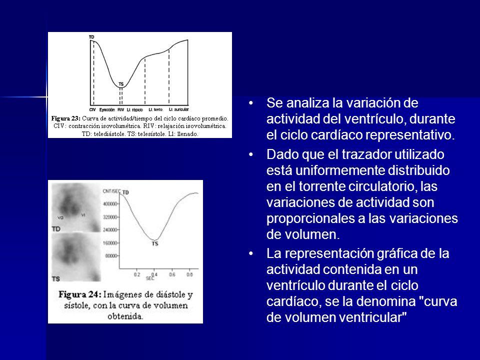 Se analiza la variación de actividad del ventrículo, durante el ciclo cardíaco representativo. Dado que el trazador utilizado está uniformemente distr