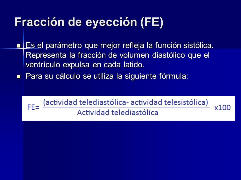 Fracción de eyección (FE) Es el parámetro que mejor refleja la función sistólica. Representa la fracción de volumen diastólico que el ventrículo expul