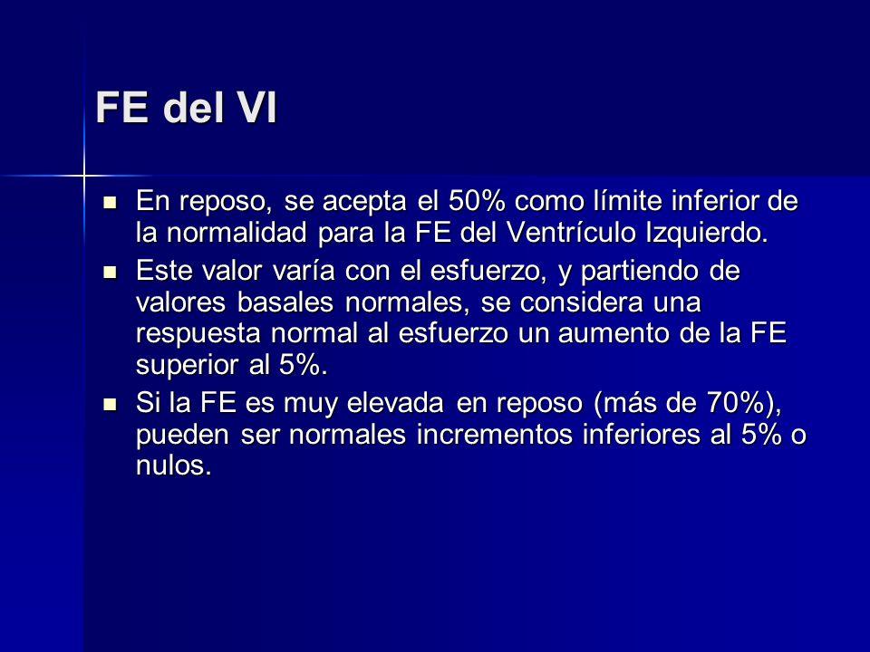 FE del VI En reposo, se acepta el 50% como límite inferior de la normalidad para la FE del Ventrículo Izquierdo. En reposo, se acepta el 50% como lími